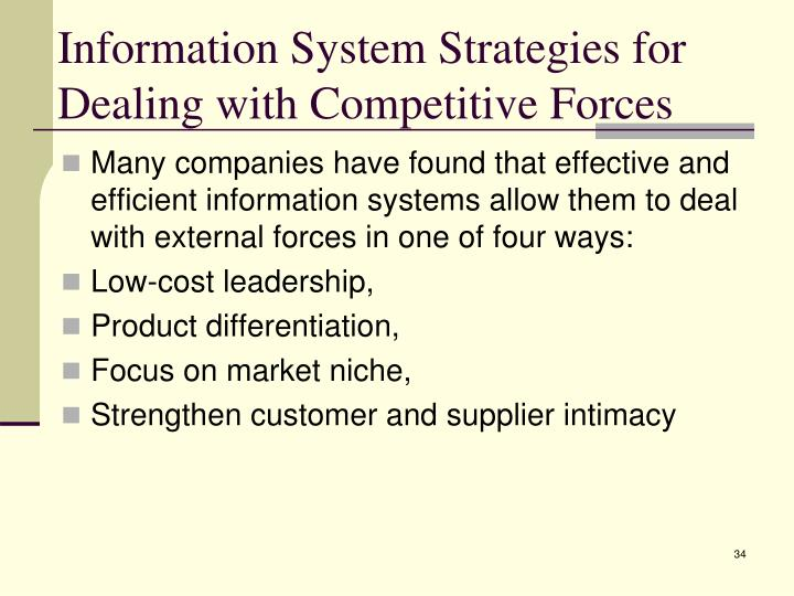 Information System Strategies for Dealing with Competitive Forces
