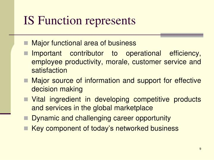 IS Function represents