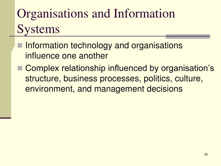 Organisations and Information Systems