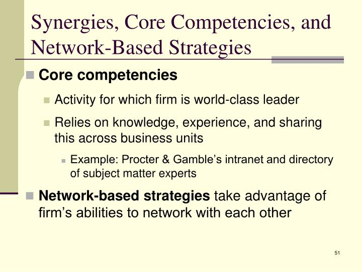 Synergies, Core Competencies, and Network-Based Strategies