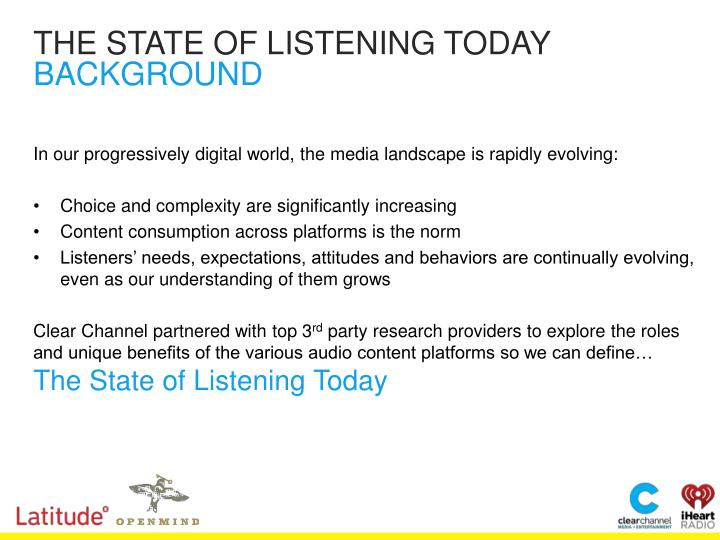 THE STATE OF LISTENING TODAY