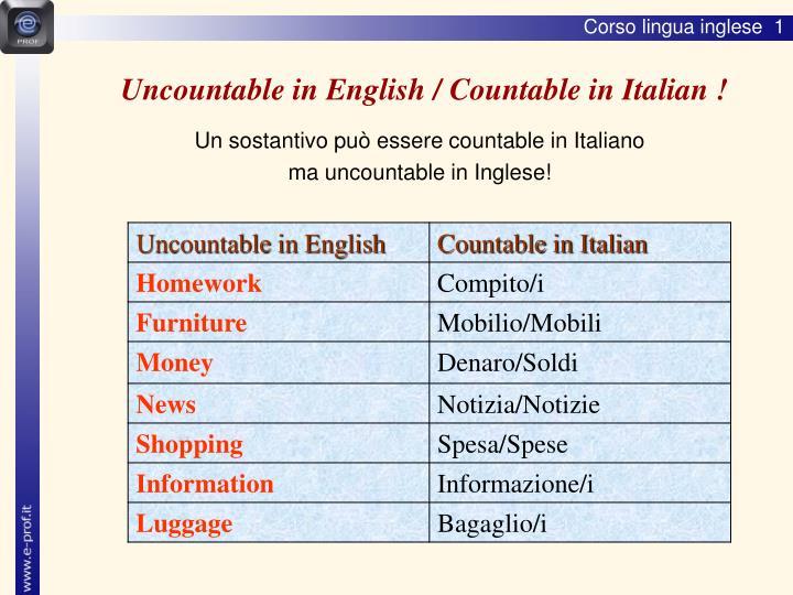 Uncountable in English / Countable in Italian !