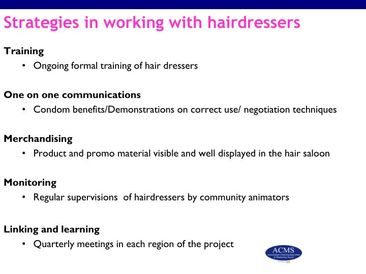Strategies in working with hairdressers