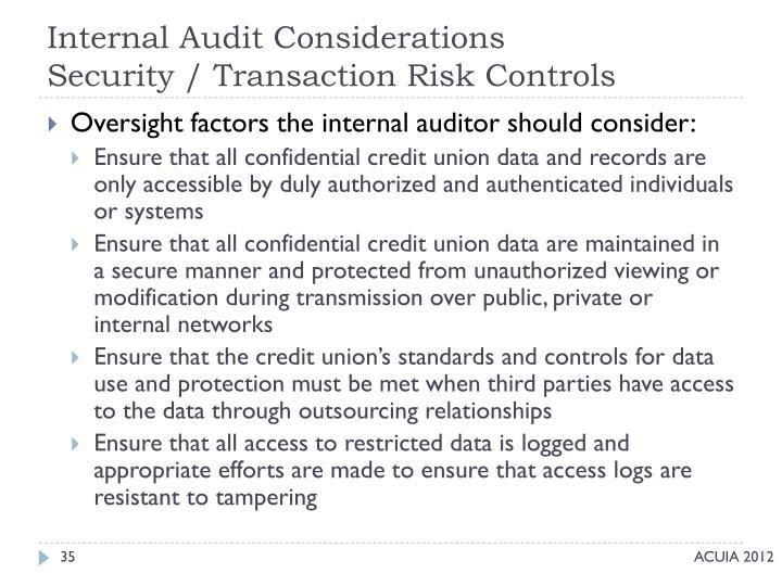 Internal Audit Considerations