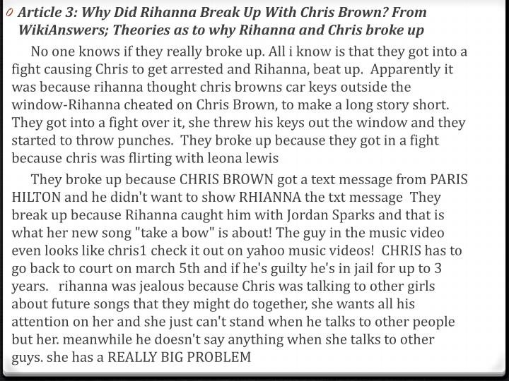 Article 3: Why Did Rihanna Break Up With Chris Brown? From