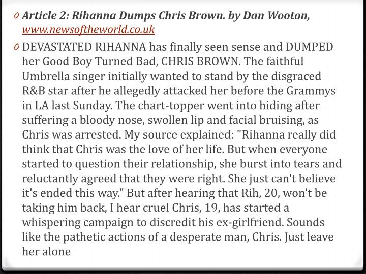Article 2: Rihanna Dumps Chris Brown. by Dan