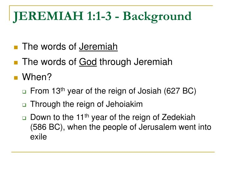 JEREMIAH 1:1-3 - Background