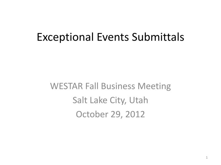 Exceptional events submittals