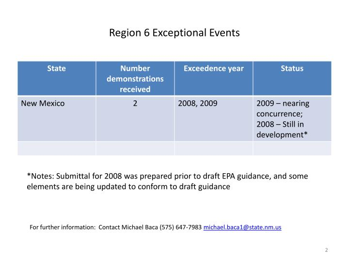 Region 6 exceptional events