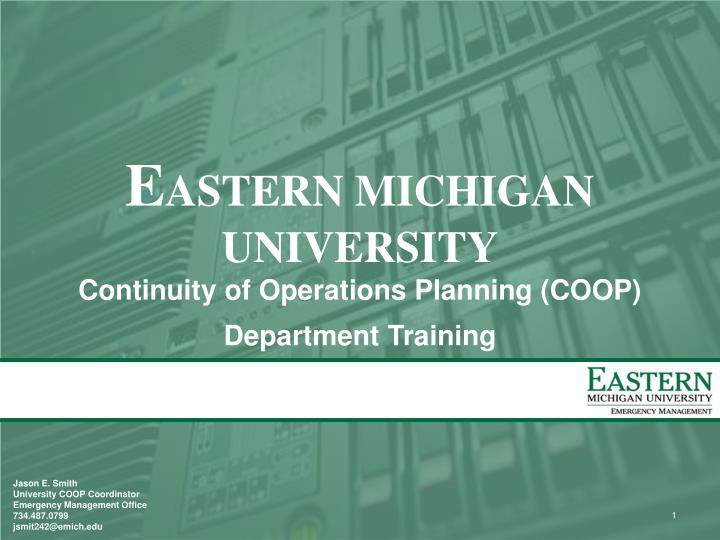 E astern michigan university continuity of operations planning coop department training