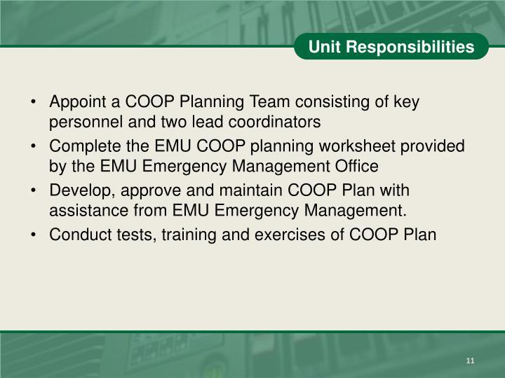 Unit Responsibilities