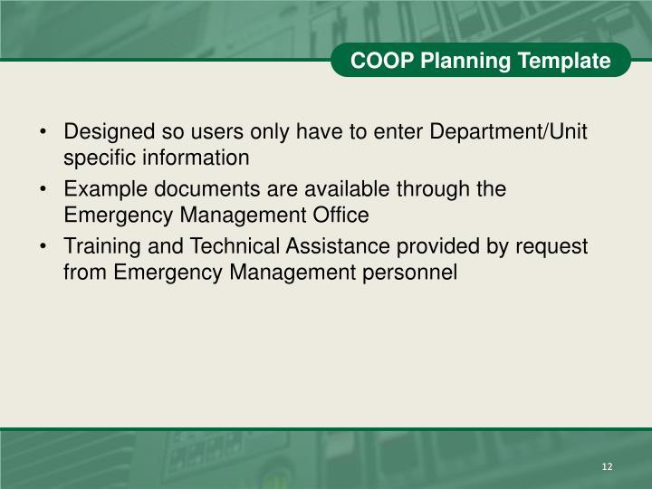 COOP Planning Template