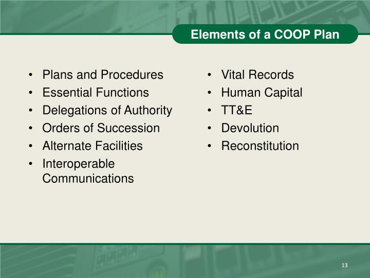 Elements of a COOP Plan