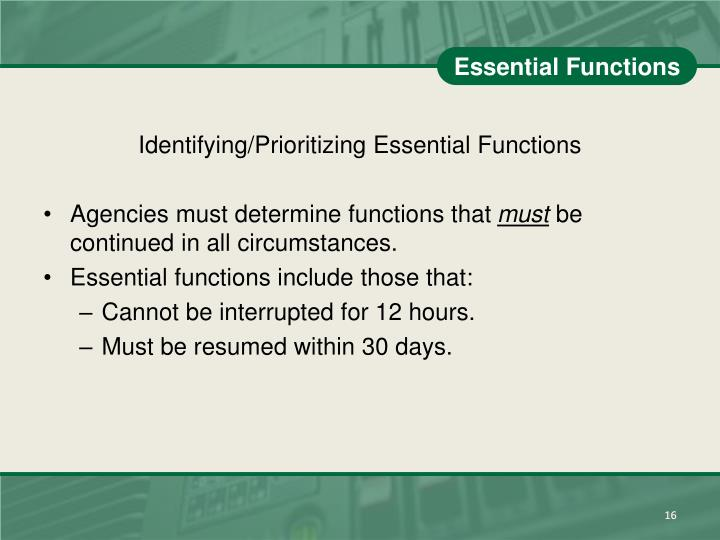 Essential Functions