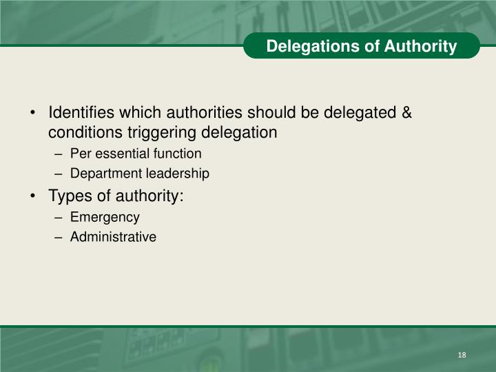 Delegations of Authority