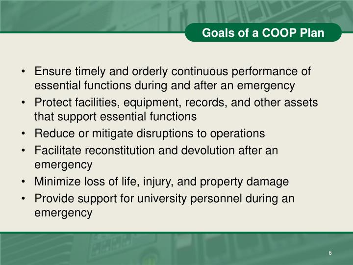 Goals of a COOP Plan