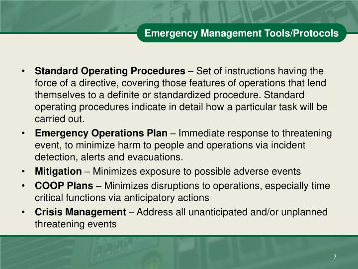 Emergency Management Tools/Protocols