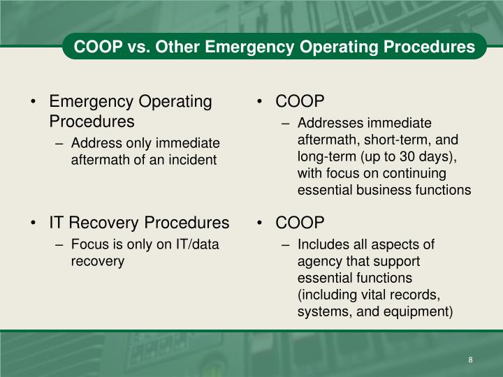 COOP vs. Other Emergency Operating Procedures