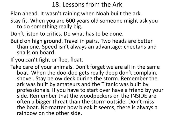 18: Lessons from the Ark