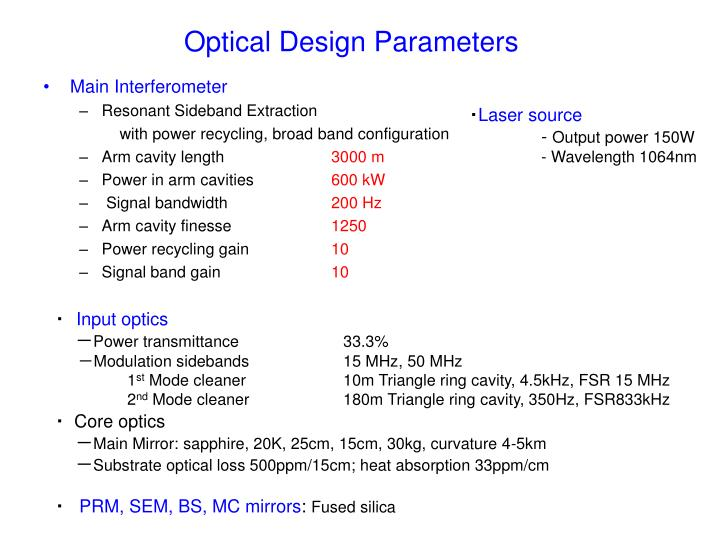 Optical Design Parameters