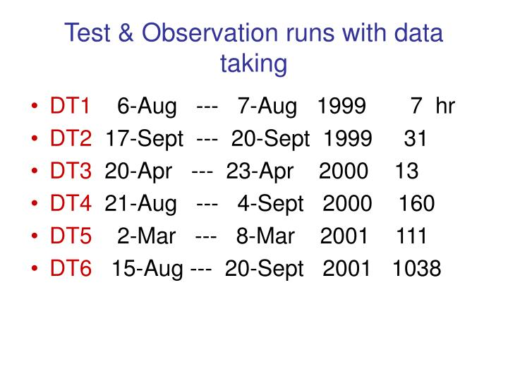 Test & Observation runs with data taking