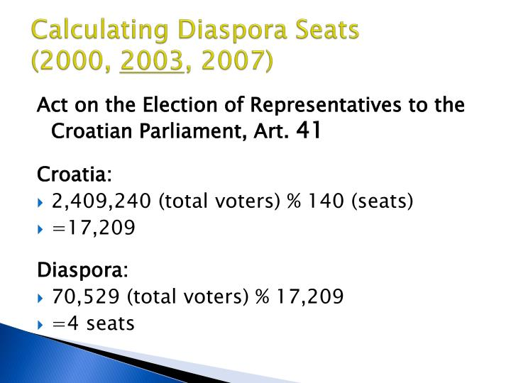 Calculating Diaspora Seats
