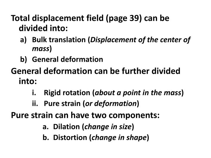 Total displacement field (page 39) can be divided into: