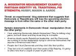 a moderator measurement example partisan identity vs traditional pid strength huddy mason aaroe