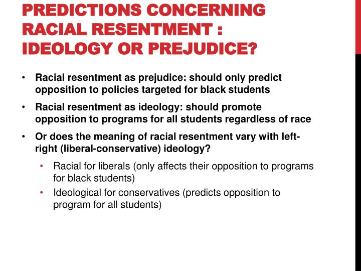 Predictions Concerning Racial Resentment : Ideology or Prejudice?