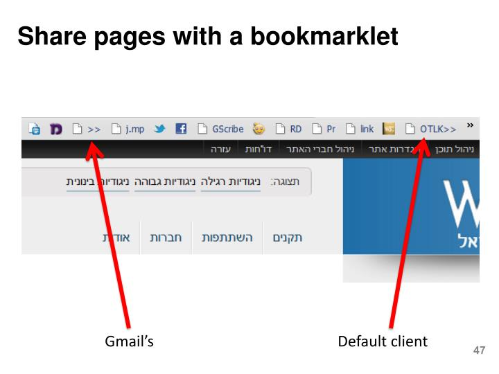 Share pages with a bookmarklet