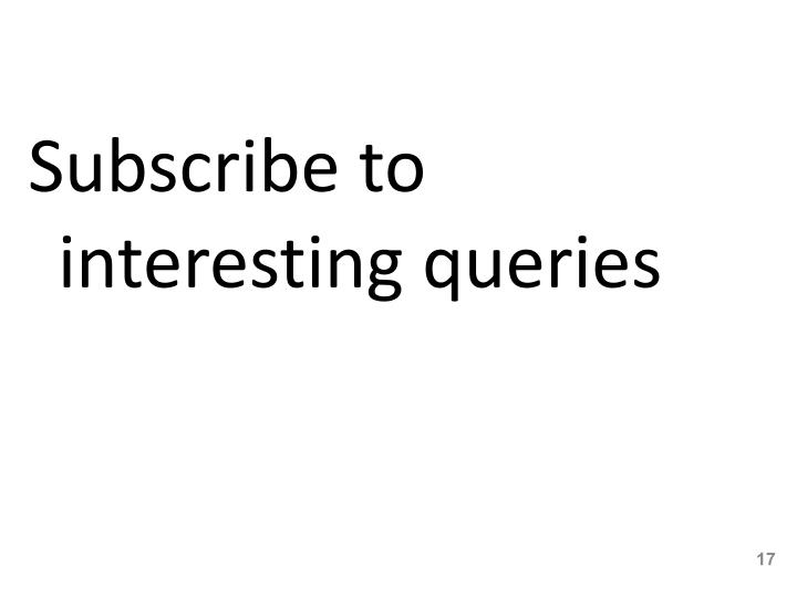 Subscribe to interesting queries