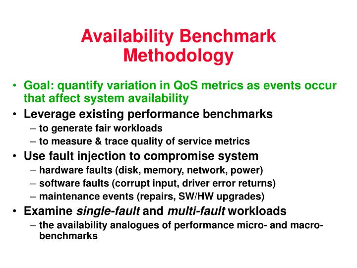 Availability Benchmark Methodology