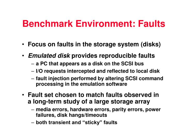 Benchmark Environment: Faults