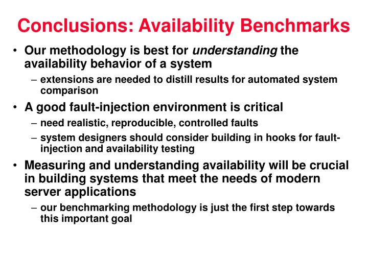 Conclusions: Availability Benchmarks