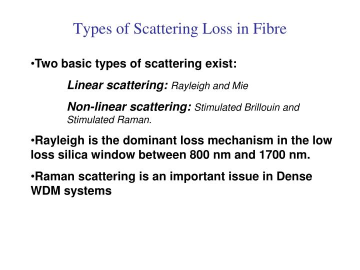 Types of Scattering Loss in Fibre