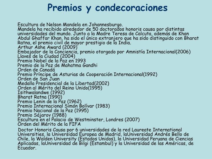 Premios y condecoraciones