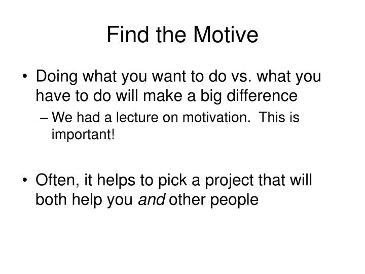 Find the Motive
