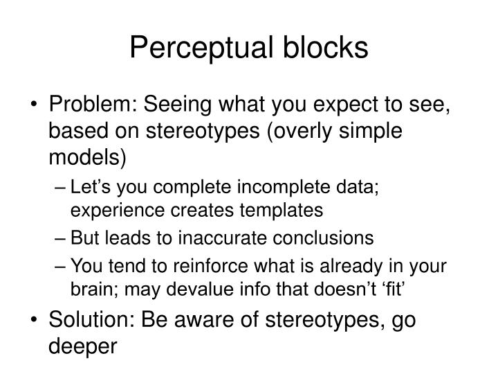 Perceptual blocks