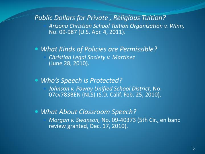Public Dollars for Private , Religious Tuition?