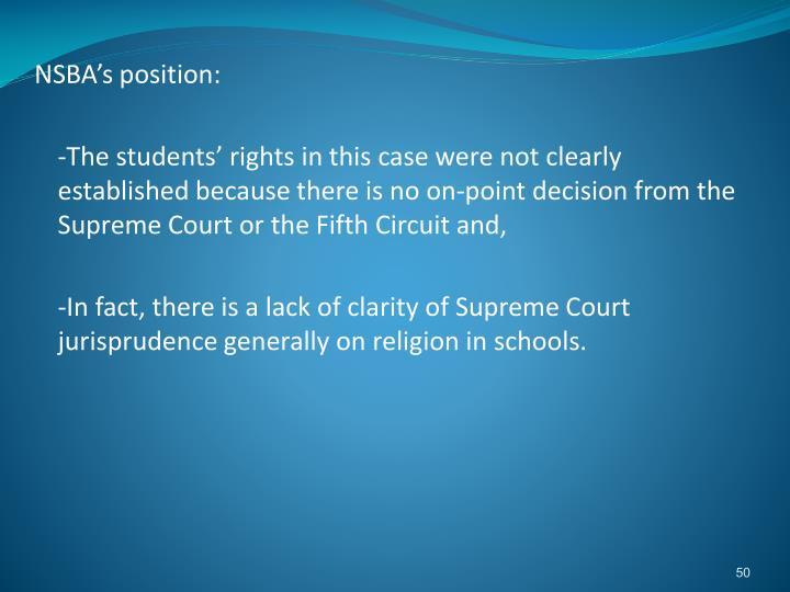 NSBA's position: