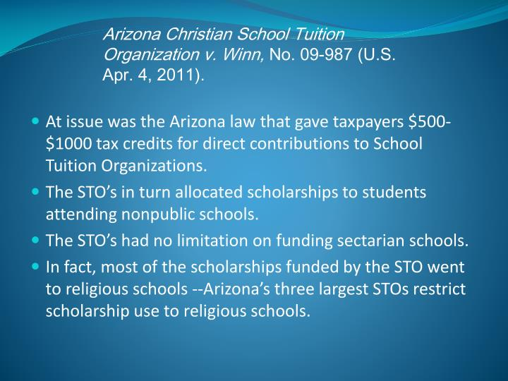 Arizona Christian School Tuition Organization v. Winn,