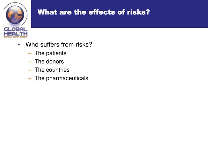 What are the effects of risks?