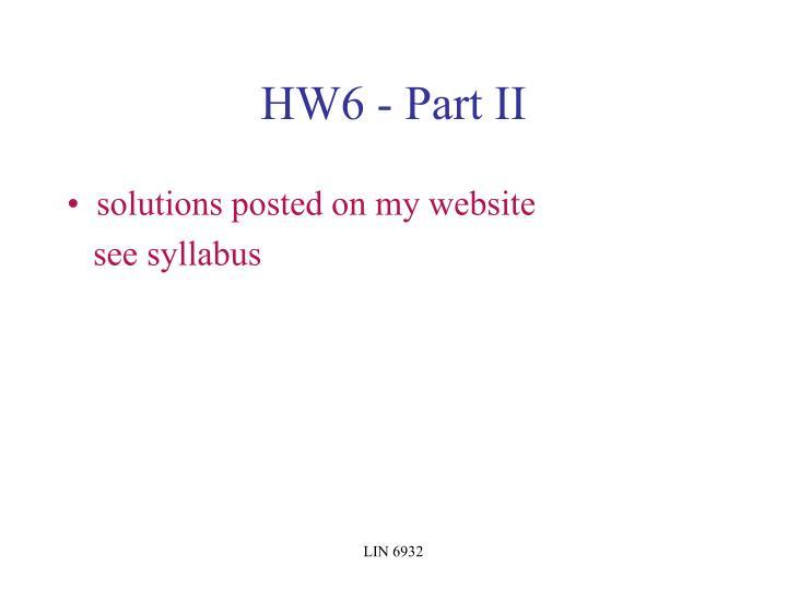 HW6 - Part II