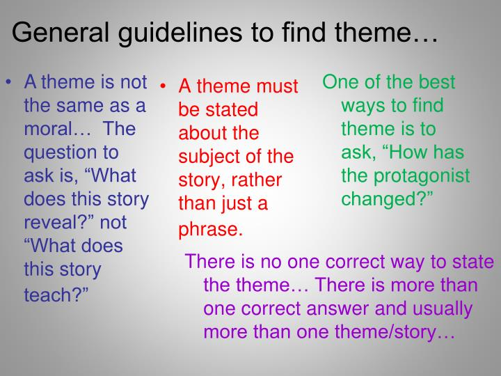 General guidelines to find theme…