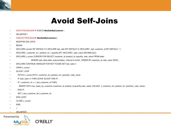 Avoid Self-Joins