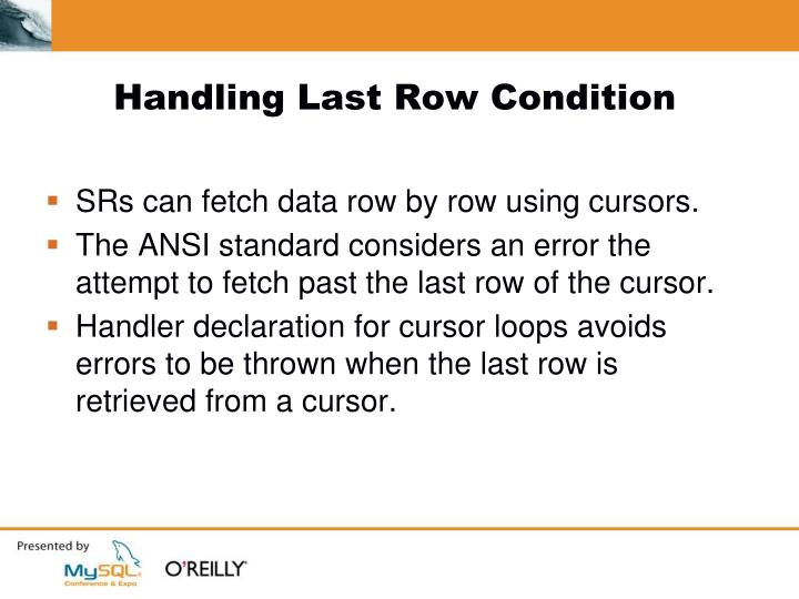 Handling Last Row Condition