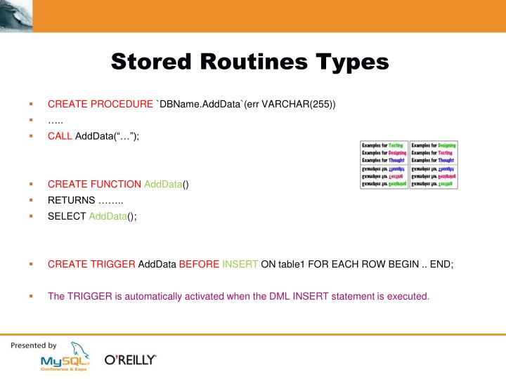 Stored Routines Types