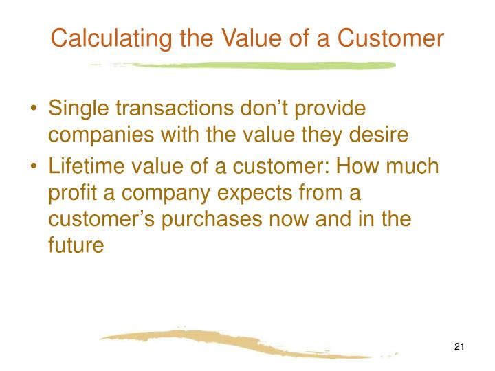 Calculating the Value of a Customer