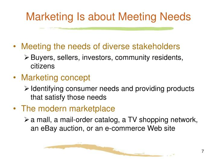 Marketing Is about Meeting Needs