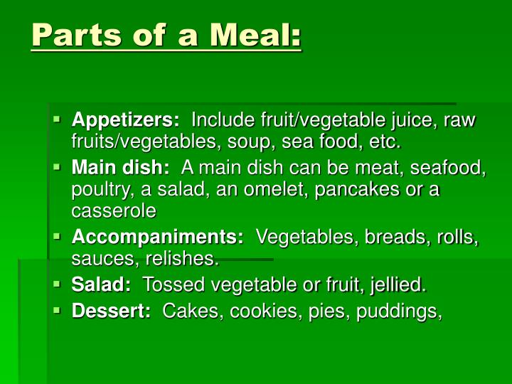 Parts of a Meal: